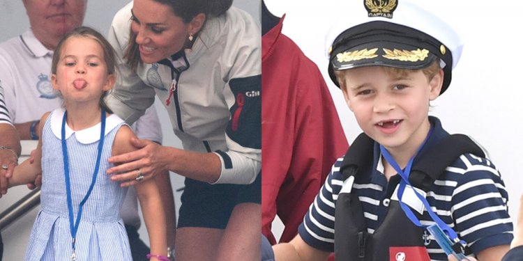 Adorable photos reveal the Duke and Duchess of Cambridge facing off in a sailing race while their children cheer them on from the sidelines