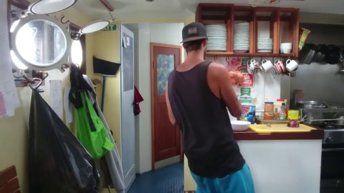 Cooking aboard a sailing vessel in rough seas