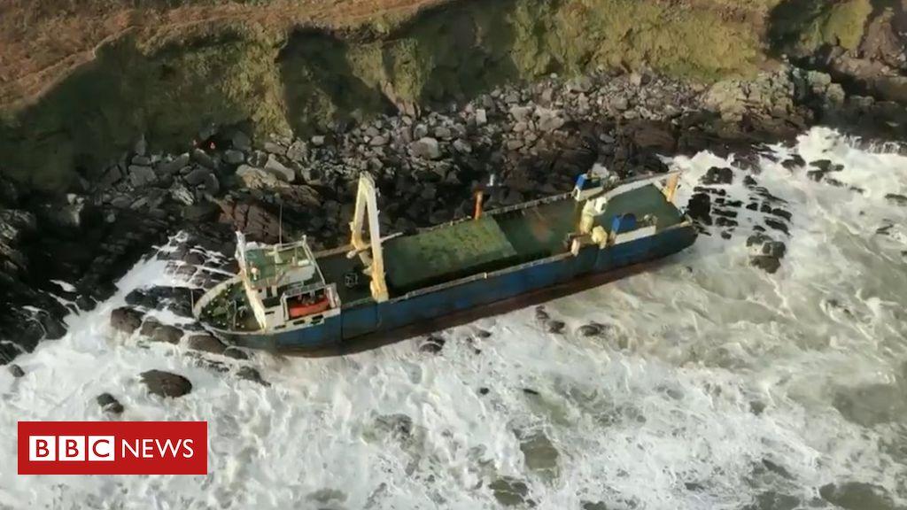 Storm Dennis: 'Ghost ship' washes up on Irish coast